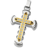 Stainless Steel Cross Pendant with CZ's