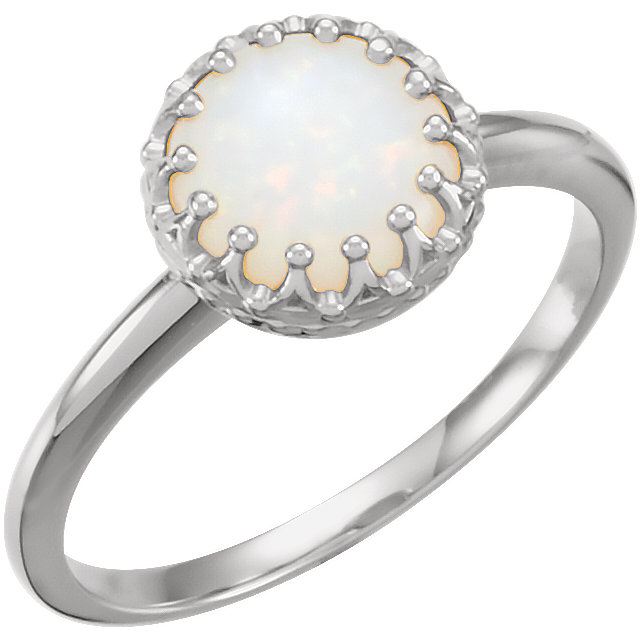 14K White 8 mm Round Opal Ring