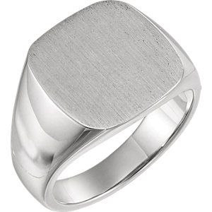 Fashion Rings , 18K Palladium White 16mm Men's Signet Ring with Brush Top Finish