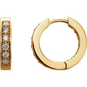 14K Yellow 1/2 CTW Diamond Hoop Earrings