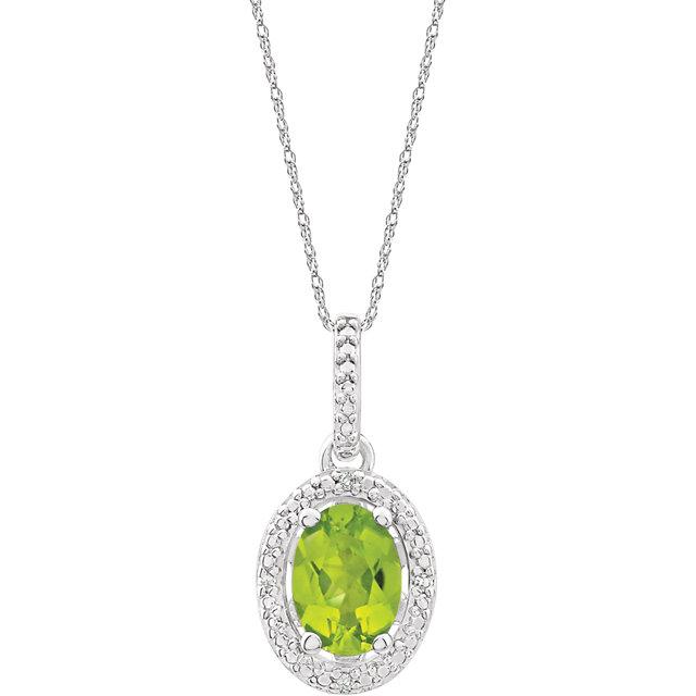 Sterling Silver Peridot & .01 CTW Diamond 18