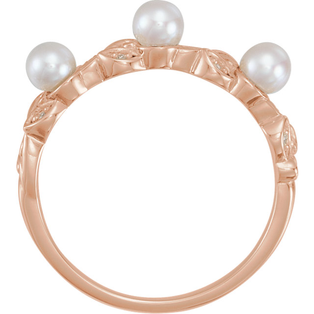 14K Rose Pearl & .03 CTW Diamond Stackable Leaf Pattern Ring