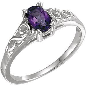 Fashion Rings , 14K White February Imitation Birthstone Ring