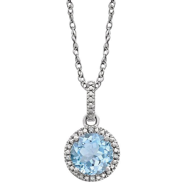 Sterling Silver Sky Blue Topaz & .01 CTW Diamond 18