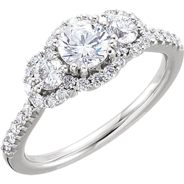 14K White 1 CTW Diamond Engagement Ring
