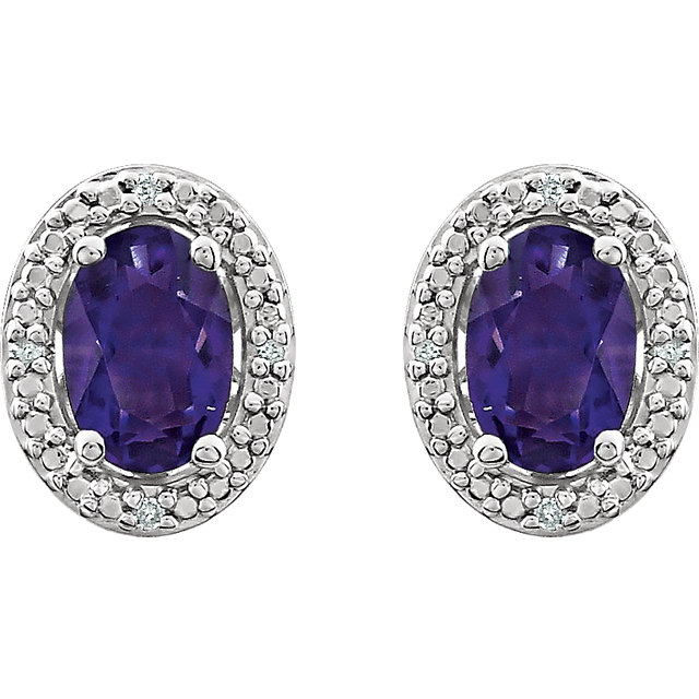 Sterling Silver Amethyst & .025 CTW Diamond Earrings