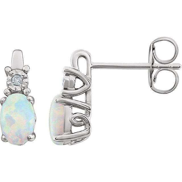 14K White Created Opal & .02 CTW Diamond Earrings