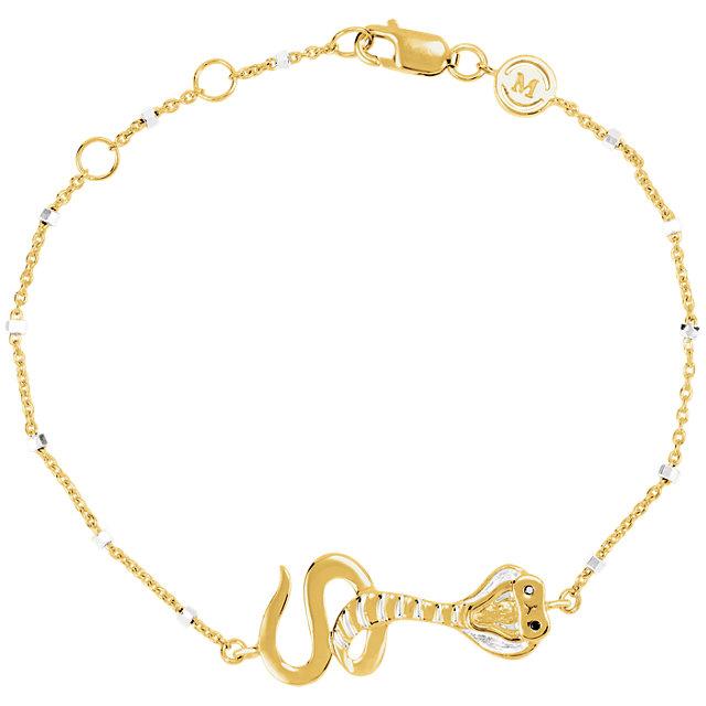 18K Yellow Vermeil Serpent Symbol for Temptation 7.5