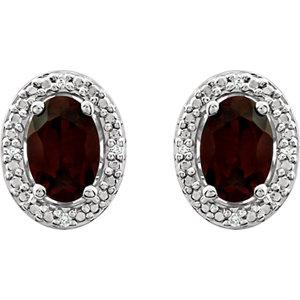 Sterling Silver Garnet Mozambique & .025 CTW Diamond Earrings