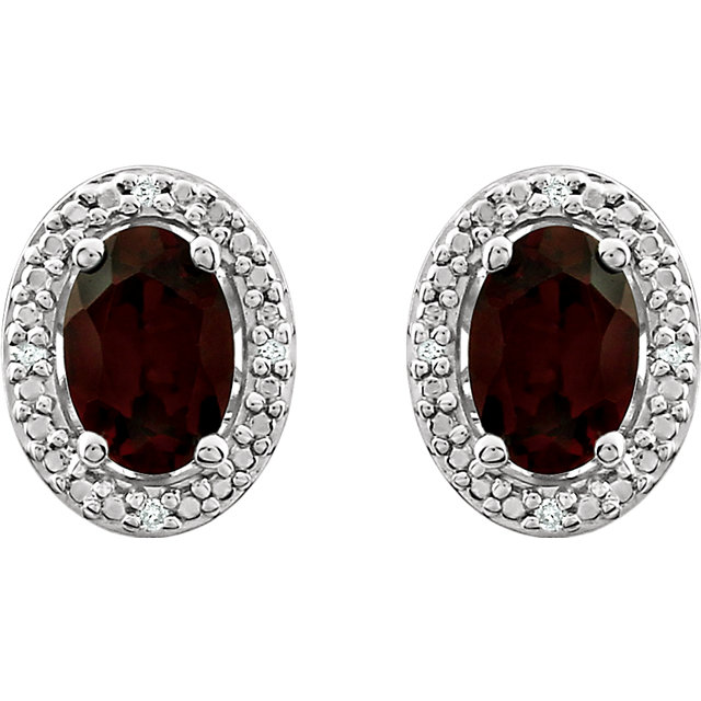 Sterling Silver Garnet Mozambique & .025 CTW Diamond Earrings