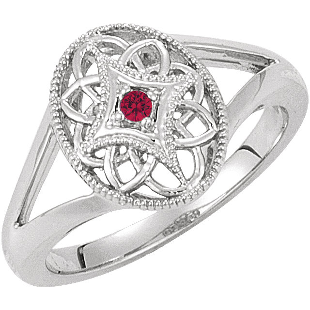 Sterling Silver Ruby Granulated Filigree Ring Size 7