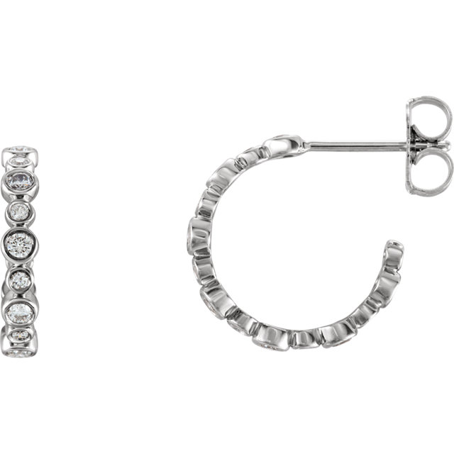 14K White 3/8 CTW Diamond Bezel-Set J-Hoop Earrings
