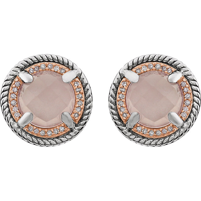 14K Rose Gold-Plated Sterling Silver Rose Quartz & 1/8 CTW Diamond Earrings