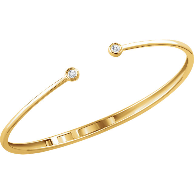 14K Yellow 1/6 CTW Diamond Hinged Bangle Bracelet