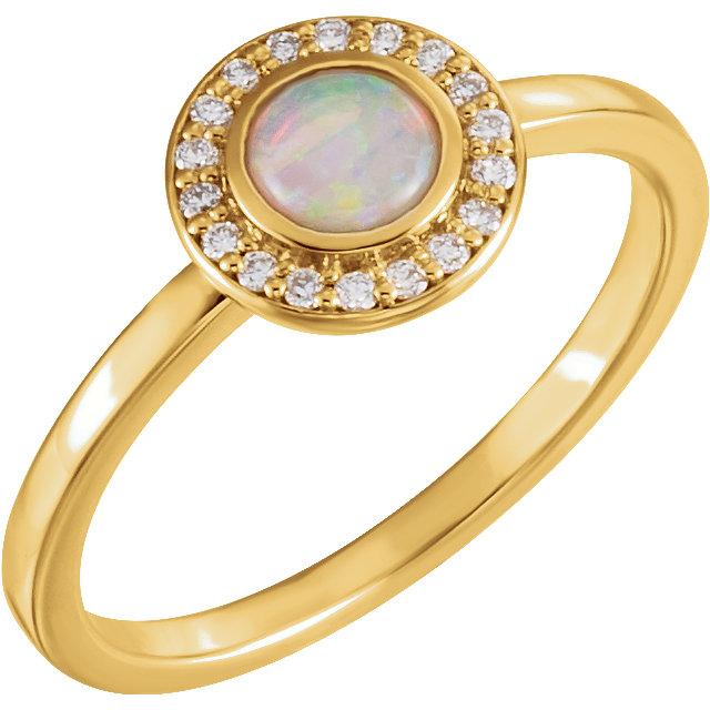 14K Yellow Opal & .08 CTW Diamond Halo-Style Ring