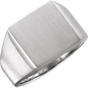 Fashion Rings , 18K Palladium White 18mm Men's Solid Signet Ring with Brush Finish