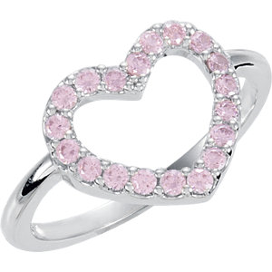 Sterling Silver Pink Cubic Zirconia Heart Ring