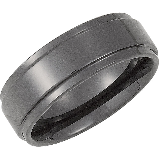 Ceramic Couture™ 8 mm Comfort-Fit Ridged Band Size 10