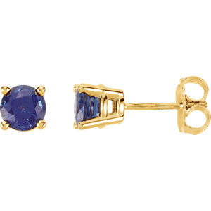 f54cb569d 14K Yellow 5 mm Round Chatham® Created Blue Sapphire Friction Post Stud  Earrings