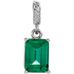 Pendant, 14K White Chatham® Created Emerald Pendant