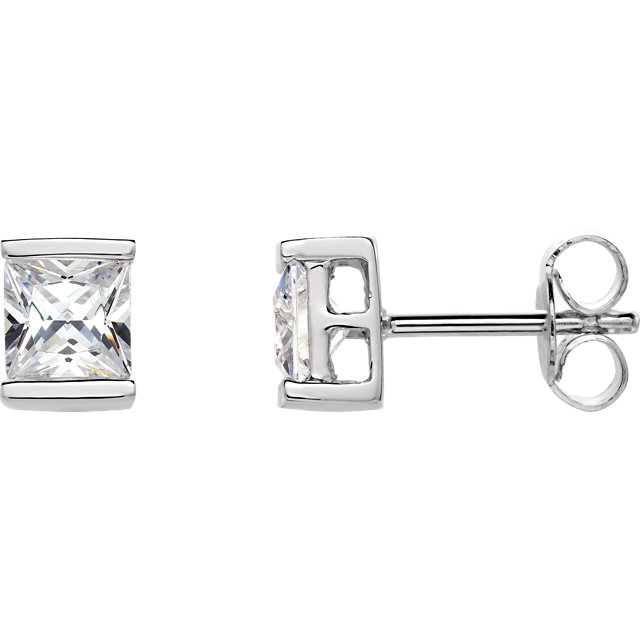 Sterling Silver 5x5 mm Square Cubic Zirconia Earrings