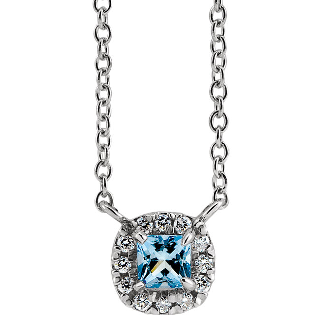 14K White Aquamarine & .05 CTW Diamond 18