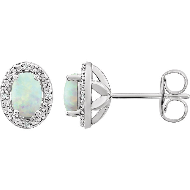 Sterling Silver Created Opal & .025 CTW Diamond Earrings