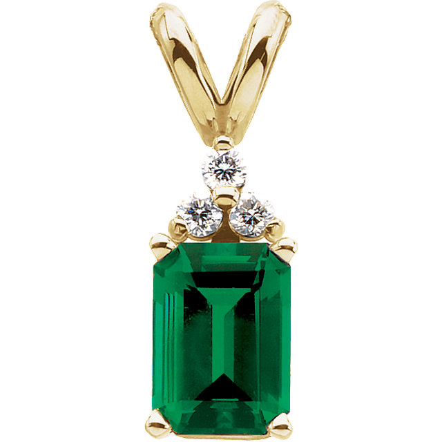 14K Yellow Chatham® Lab-Created Emerald & .06 CTW Diamond Pendant