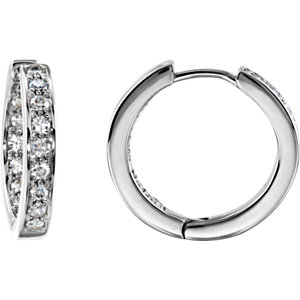 14K Rose 3/4 CTW Diamond Hoop Inside/Outside Earrings