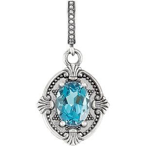 Sterling Silver Swiss Blue Topaz Victorian Style Pendant