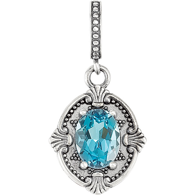 Sterling Silver Swiss Blue Topaz Victorian Style Pendant