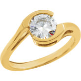 Charles & Colvard Moissanite® Bezel Set Solitaire Engagement Ring