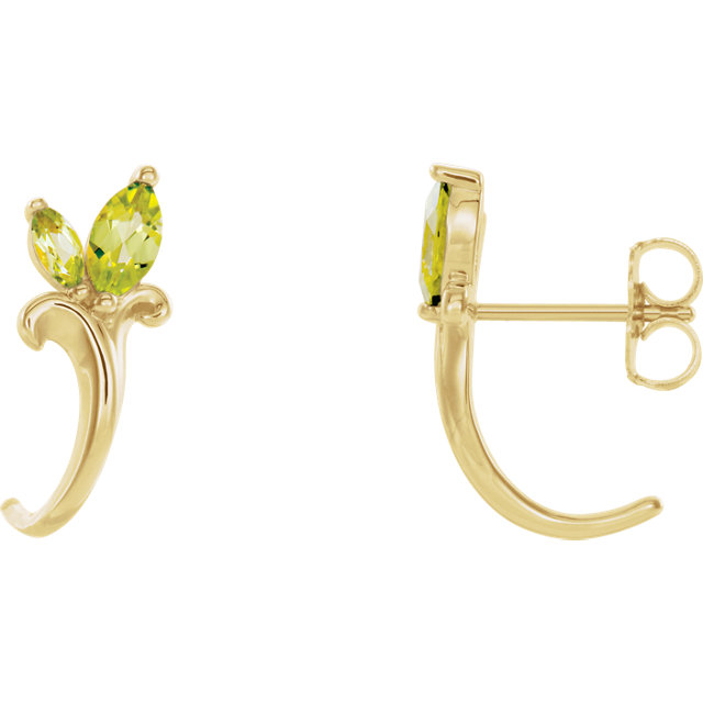 14K Yellow Peridot Floral-Inspired J-Hoop Earrings