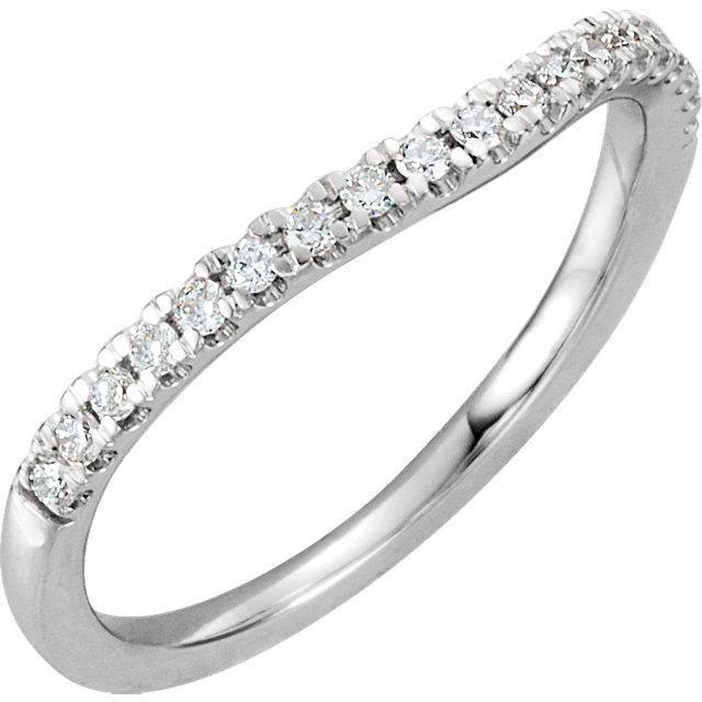 14K White 1/5 CTW Diamond Band for 5.8mm Round Ring