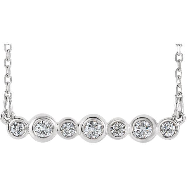 14K White 1/5 CTW Diamond Bezel-Set Bar 16-18