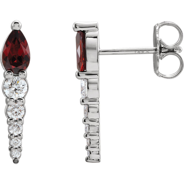 14K White Mozambique Garnet & 1/4 CTW Diamond Earrings