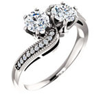 14K White 5.2 mm Round Two-Stone Engagement Ring Mounting