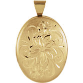 Design-Engraved Oval Locket