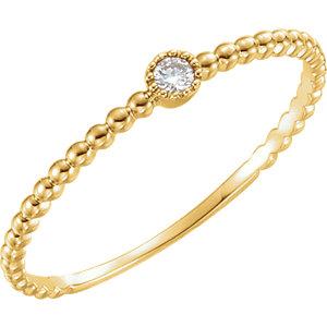 14K Yellow .03 CTW Diamond Bead Design Ring Size 7