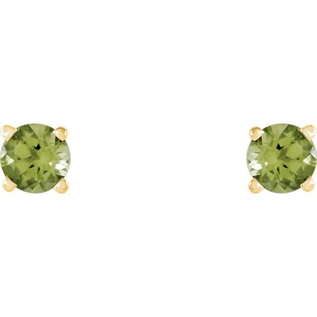 14K Yellow 4 mm Round Peridot Earrings