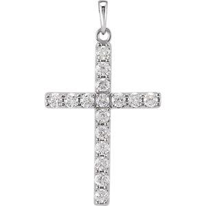14K White 1 CTW Diamond Cross Pendant