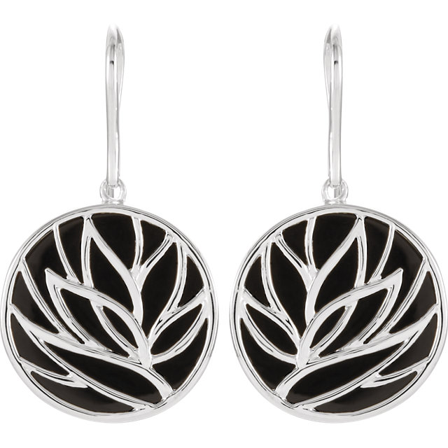 Sterling Silver Onyx Floral-Inspired Earrings