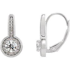 Earrings , Sterling Silver 5/8 CTW Diamond Milgrain Halo-Style Dangle Earrings