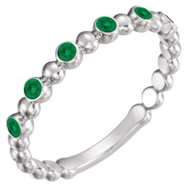 14K White Chatham® Created Emerald Stackable Ring