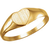 Youth Solid Back Heart Signet Ring