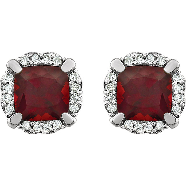 14K White Mozambique Garnet & 1/10 CTW Diamond Earrings