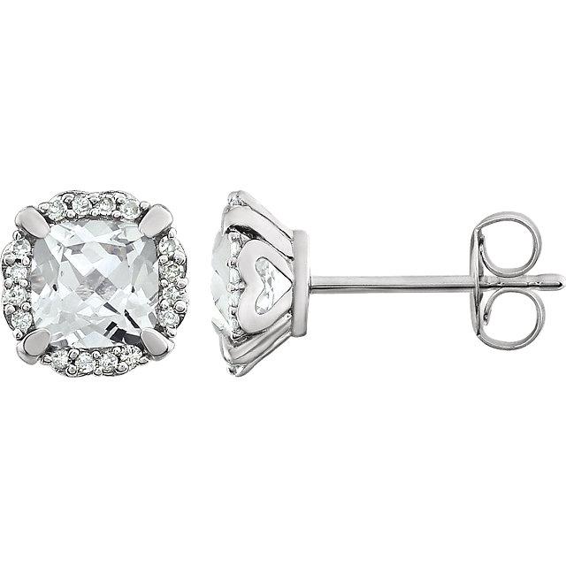 14K White Created White Sapphire & 1/10 CTW Diamond Earrings