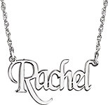 14K White Block Nameplate Necklace