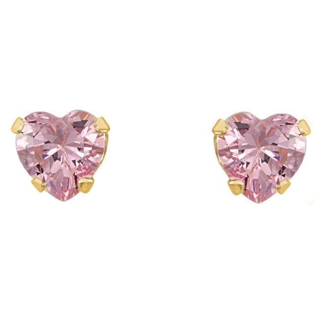 14K Yellow 4x3.5 mm Heart Pink Cubic Zirconia Youth Stud Earrings