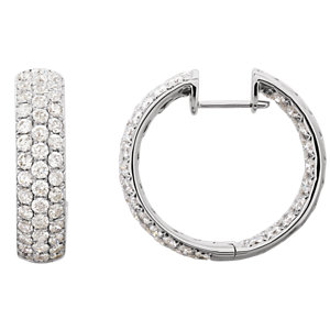 18K White 4 CTW Diamond Inside-Outside Hoop Earrings